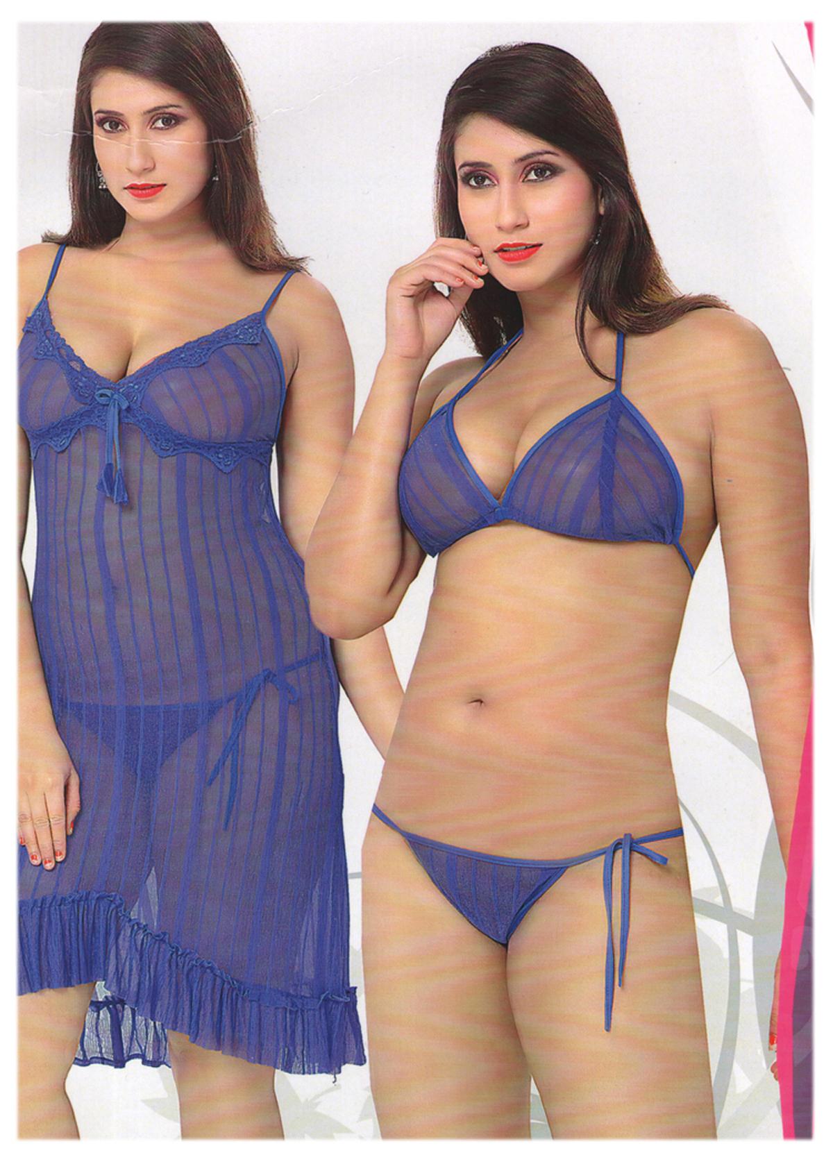 Baby Doll Bedroom Wear Hot Sexy Nighties 3 Pc Set  Global -1170
