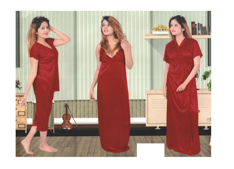 HONEYMOON ROMANTIC 4 PC SATIN BRIDAL NIGHT DRESS – Global Trendzs