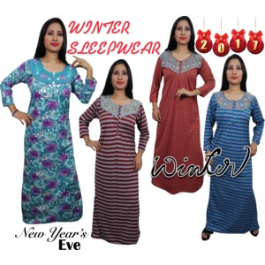 Enjoy your sleep time with this printed Full Sleeve Winter night wear gown  for women from Indiatrendzs. Made from Hosiery af0d9da93