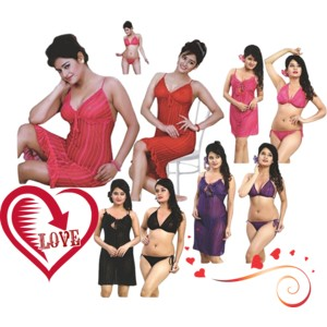 0ef3ce412b Indiatrendzs Women Net 3 PC Set (Short Stylish Night Dress   Lingerie Set)  in Color. Look sexy and appealing by wearing this Net night dress from ...