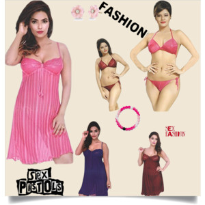 Indiatrendzs Women Net 3 PC Set (Short Stylish Babydoll Night Dress    Lingerie Set) . Look sexy and appealing by wearing this Net night dress  from ... 5d44f7e3f